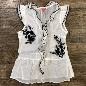 Sheer ivory top with black embroidery